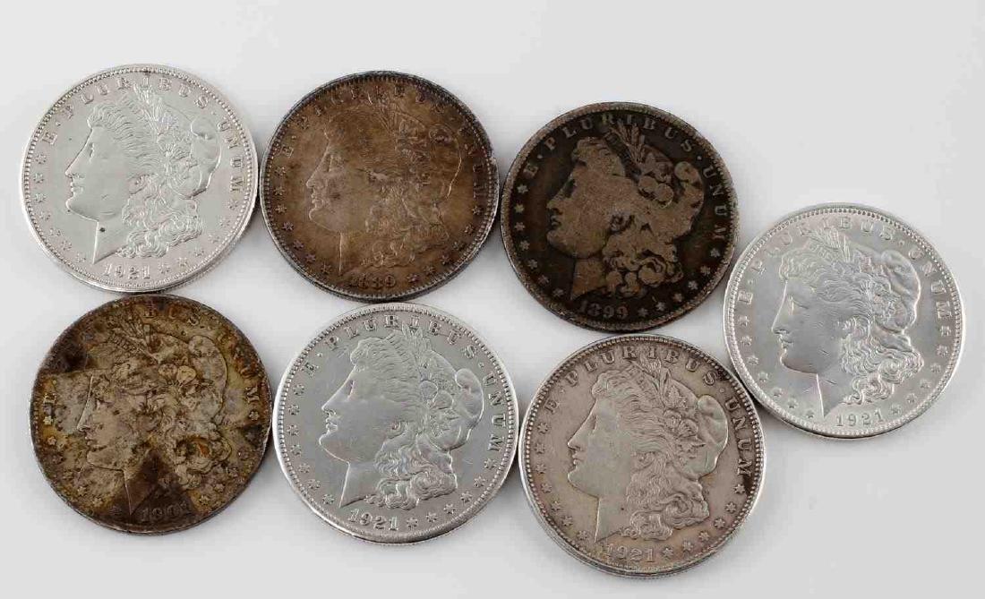 MORGAN SILVER DOLLAR MIXED DATE LOT OF SEVEN COINS