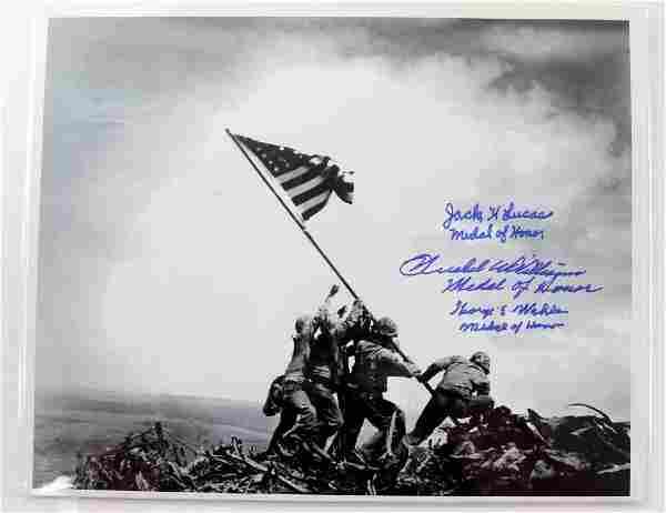 WWII IWO JIMA FLAG RAISING PHOTO SIGNED BY 3 W COA