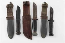 WWII US NAVY MK 1 KA BAR FIGHTING KNIFE LOT OF 3