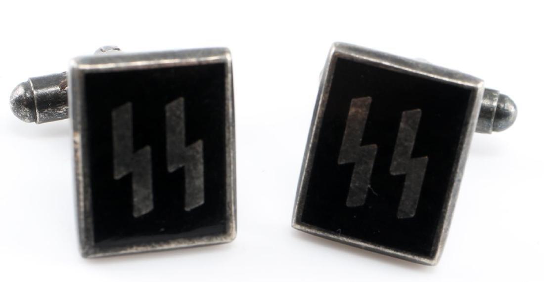 WWII GERMAN THIRD REICH SS ENAMEL CUFF LINK SET