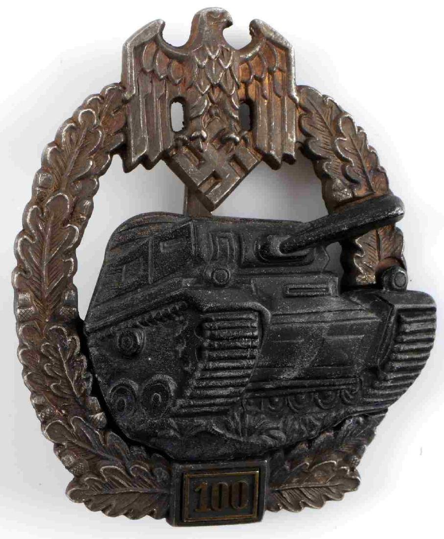 WWII GERMAN THIRD REICH PANZER ASSAULT BADGE 100