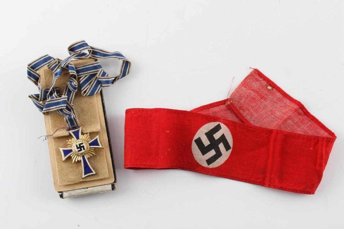 WWII GERMAN MOTHERS CROSS & ARMBAND LOT