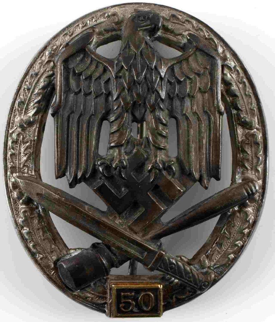 WWII GERMAN THIRD REICH 50 GENERAL ASSAULT BADGE