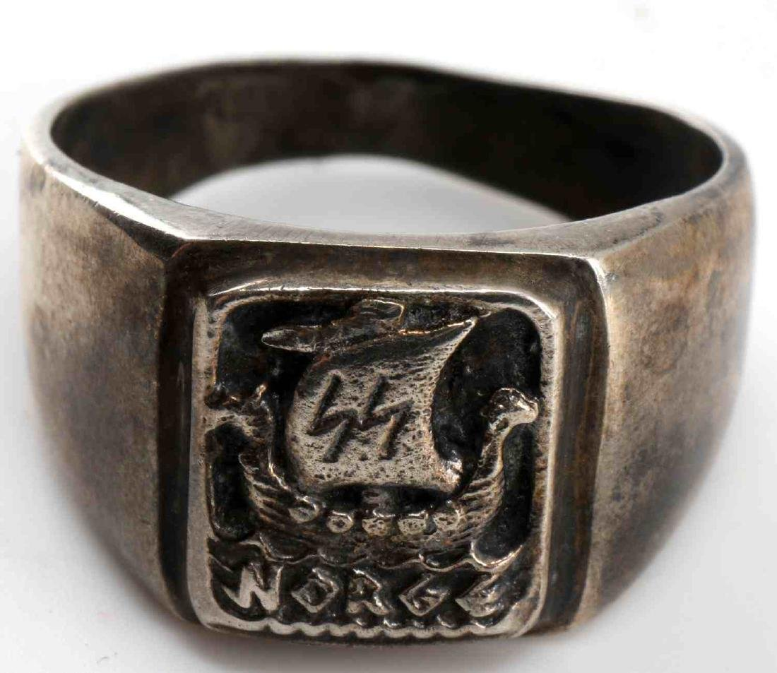 WWII GERMAN SS NORGE WIKING DIVISION SILVER RING