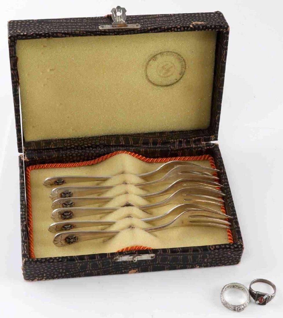 WWII GERMAN THIRD REICH PASTRY FORKS & RINGS