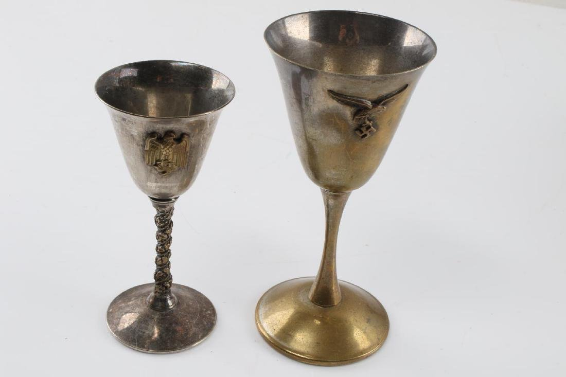LOT OF 2 SMALL CORDIAL WINE GLASSES BRASS PLATE