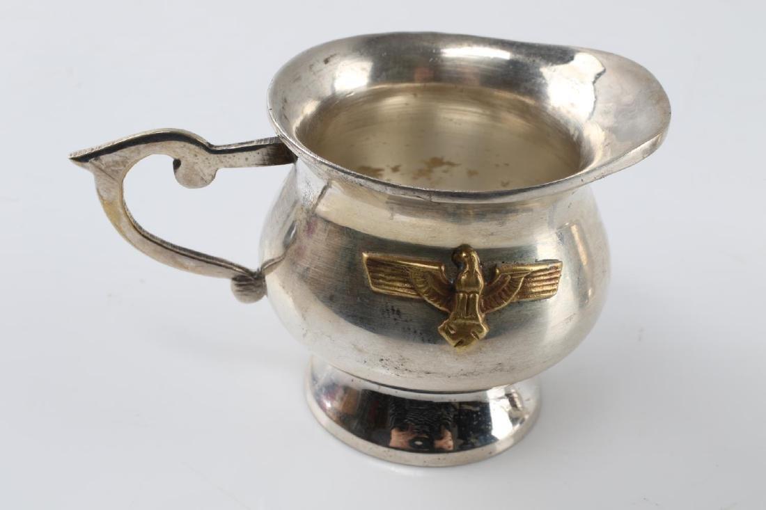 WWII THIRD REICH SILVER PLATE CREAMER & SUGAR BOWL - 2
