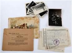 WWII GERMAN THIRD REICH PHOTOS RECEIPTS POSTCARDS