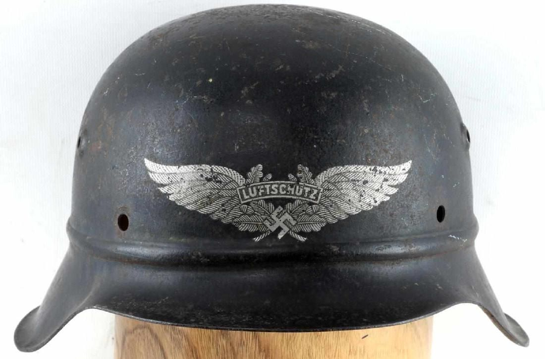 WWII GERMAN M 42 BEADED LUFTSCHUTZ HELMET