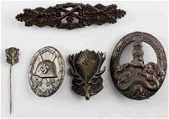 WWII GERMAN 3RD REICH ASSAULT WOUND BADGE LOT OF 5