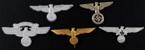 WWII GERMAN THIRD REICH CAP BADGE LOT OF 5