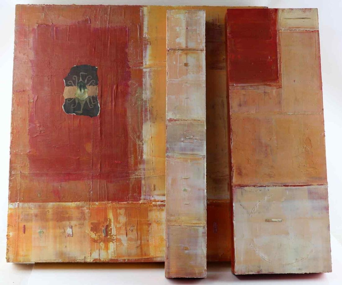 GWYN KOHR ABSTRACT TRIPTYCH SET OF OIL PAINTINGS