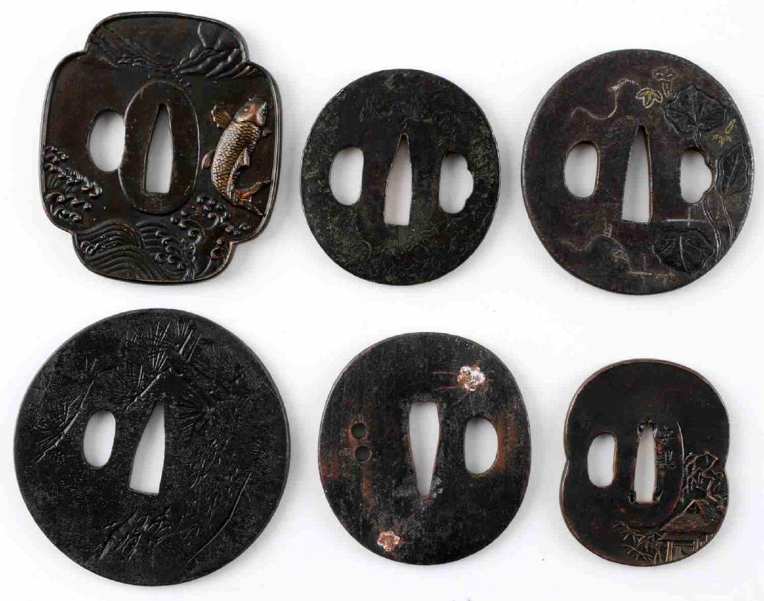 JAPANESE EDO PERIOD SAMURAI SWORD TSUBA LOT OF 6