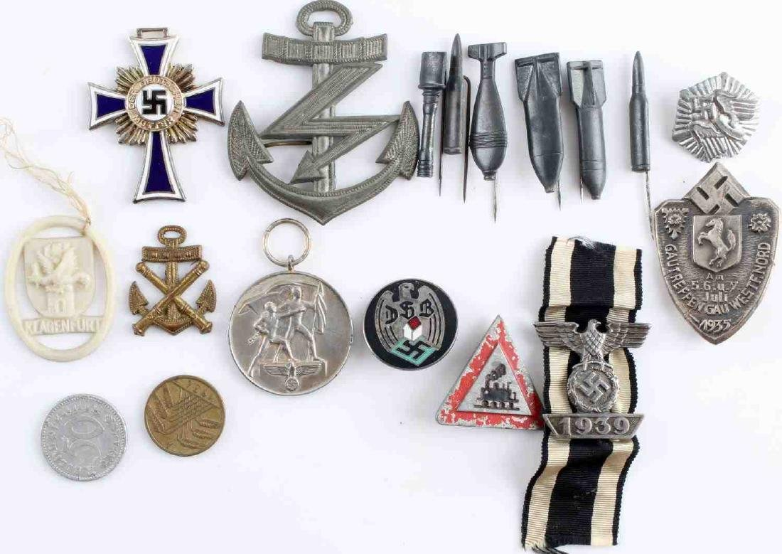 WWII GERMAN 3RD REICH BADGE & STICK PIN LOT OF 18