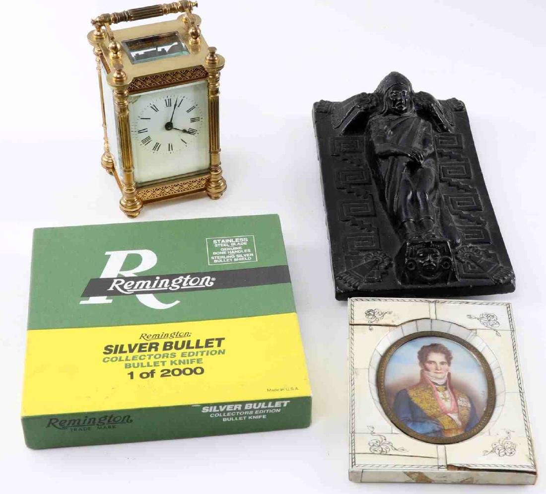 MIXED COLLECTIBLE LOT PORTRAIT KNIFE CLOCK FIGURE