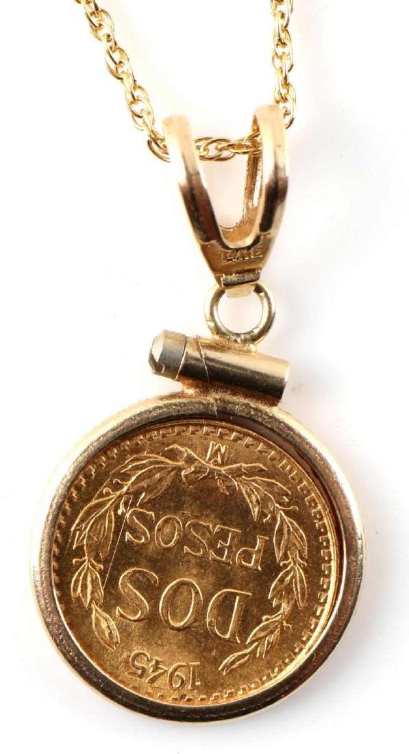 1945 DOS PESOS GOLD MEXICAN COIN PENDANT NECKLACE