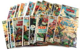 LOT OF 37 BRONZE AGE WAR COMICS CHARLTON MARVEL DC