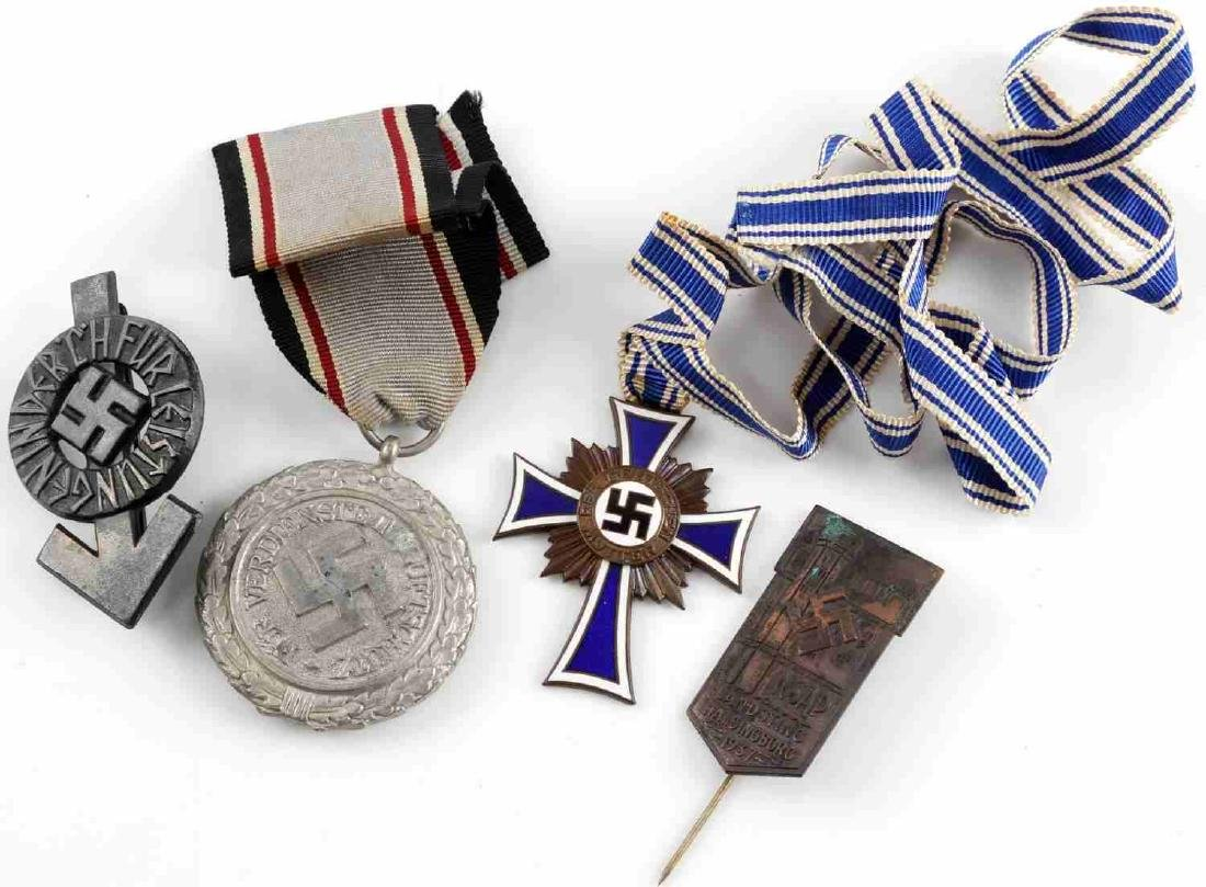WWII GERMAN THIRD REICH MEDAL & BADGE LOT OF 4