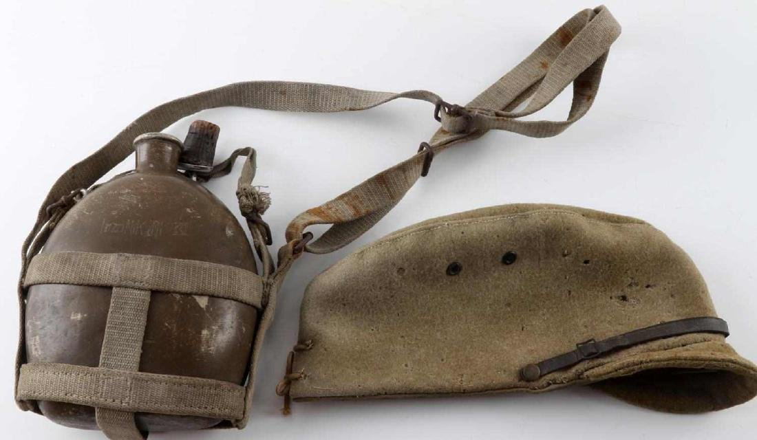 WWII IMPERIAL JAPANESE ARMY FIELD CAP AND CANTEEN
