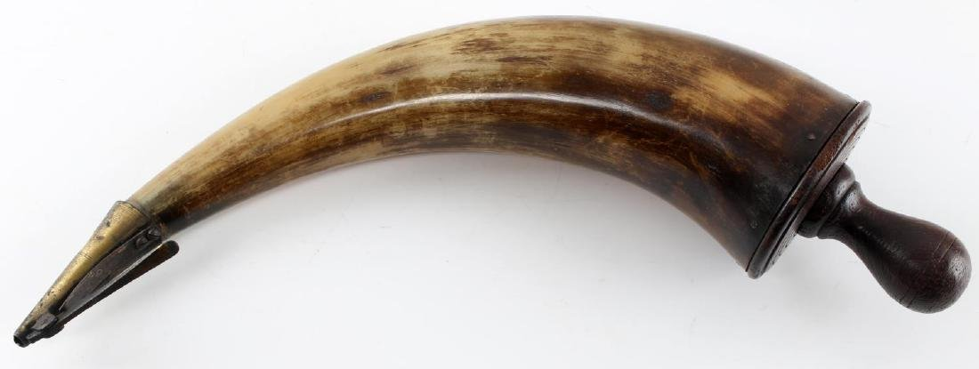 ANTIQUE POWDER HORN WITH WOOD AND BRASS