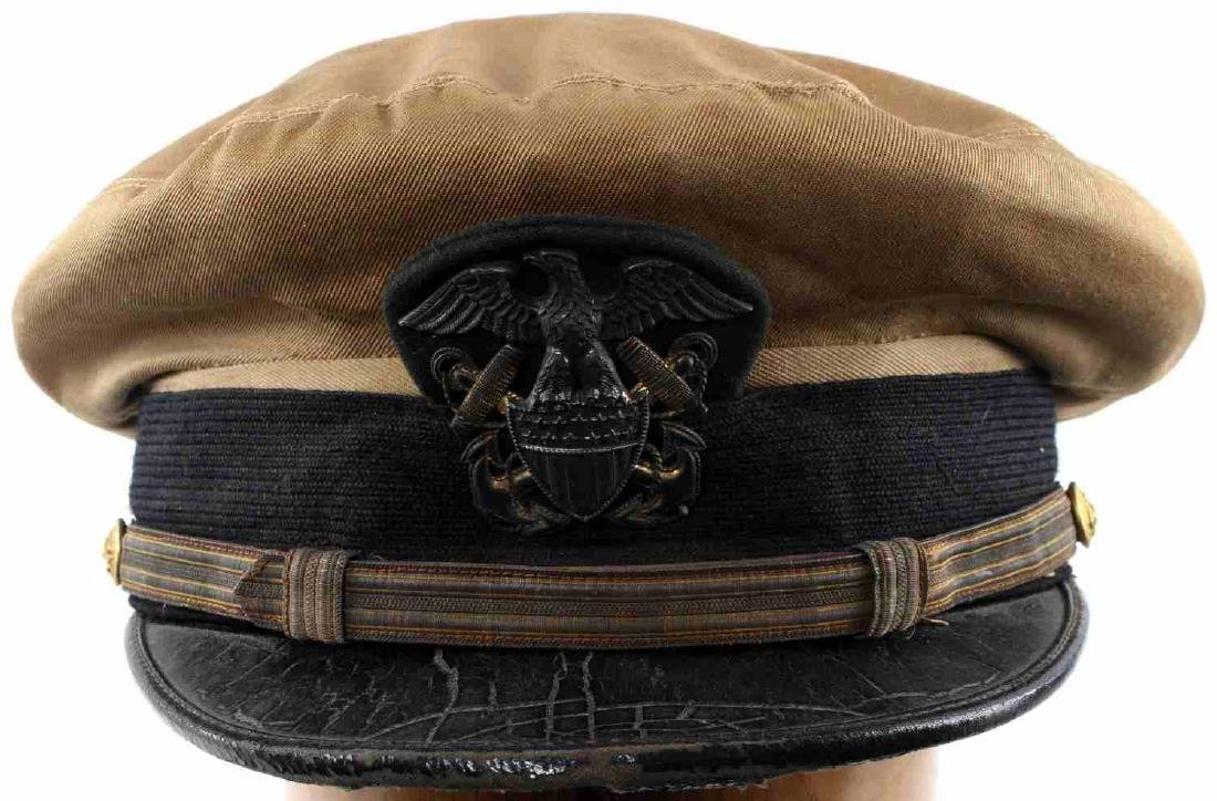 WWII US AMERICAN NAVY OFFICERS PEAKED CRUSHER CAP