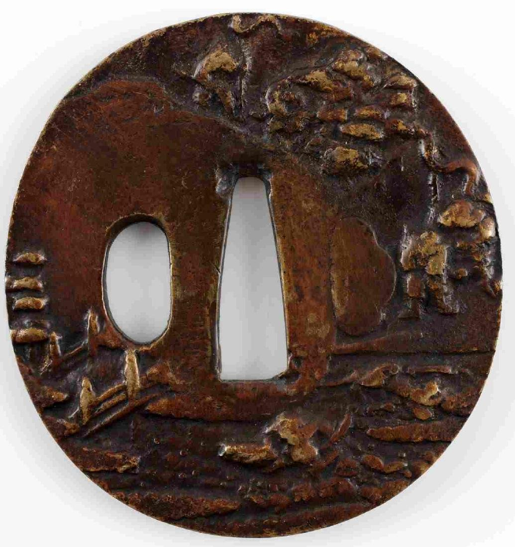 BRASS JAPANESE SWORD PICTORAL TSUBA GUARD