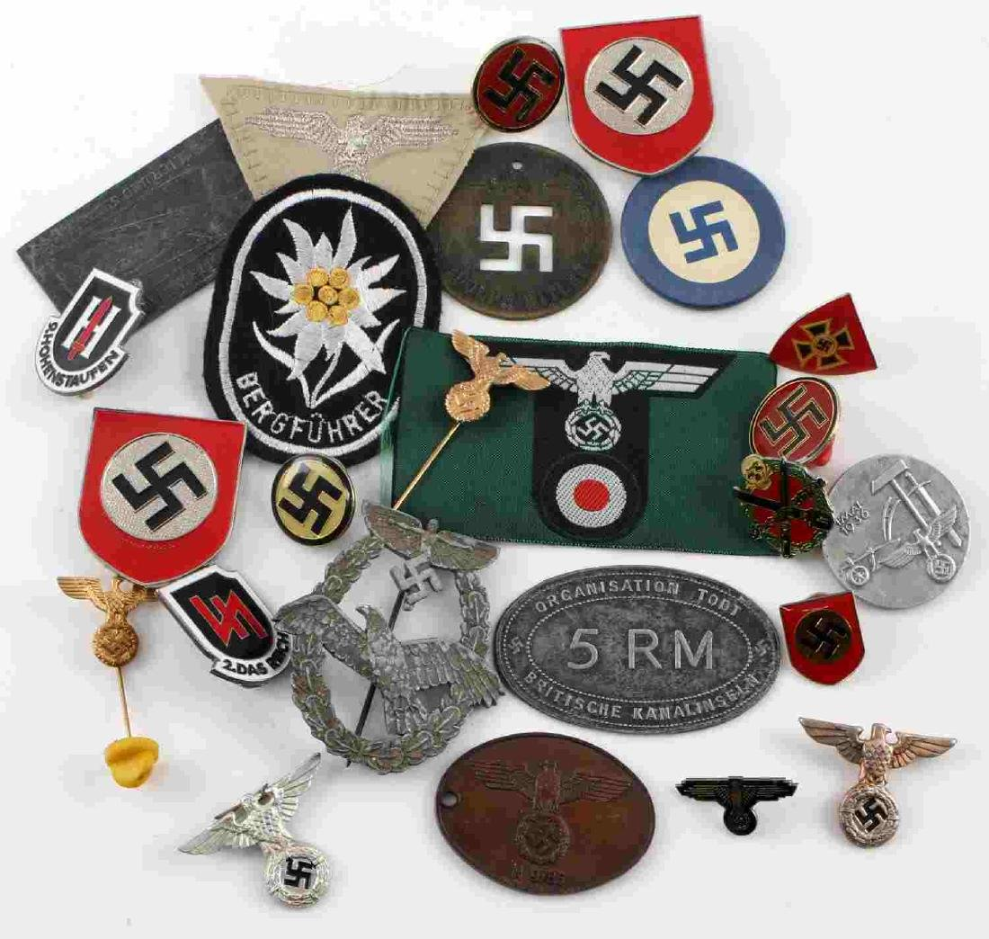 WWII GERMAN THIRD REICH BADGE & PIN LOT OF 25
