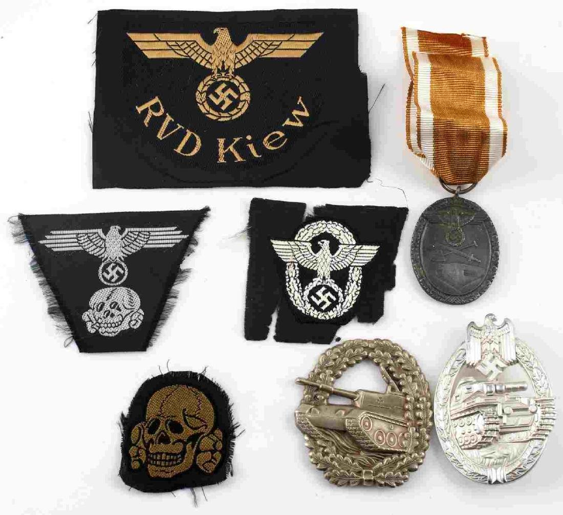 WWII GERMAN THIRD REICH BADGE & PATCH LOT OF 7