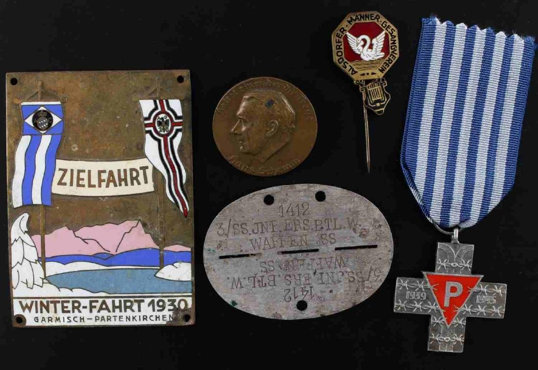 WWII GERMAN THIRD REICH PLAQUE & PIN LOT OF 5