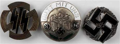 WWII GERMAN SS & GAU HONOR BADGE LOT OF 3