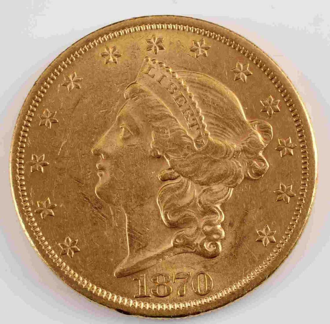1870 LIBERTY HEAD $20 DOUBLE EAGLE GOLD COIN