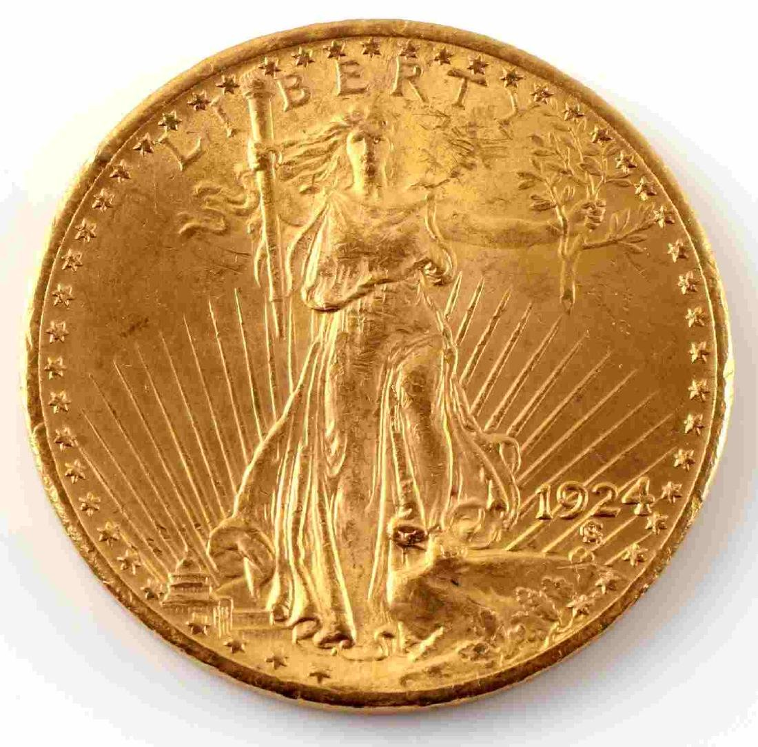 1924 UNC GOLD ST GAUDENS $20 DOUBLE EAGLE COIN