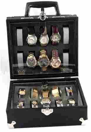 HEAVY DUTY BLACK WATCH CASE W 16 WATCHES
