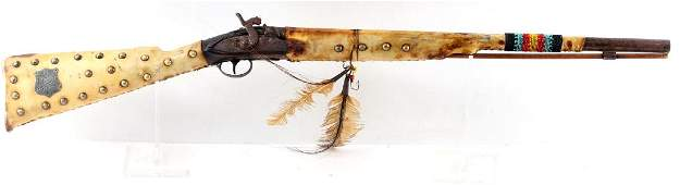 INDIAN POLICE RAWHIDE WRAPPED PERCUSSION MUSKET