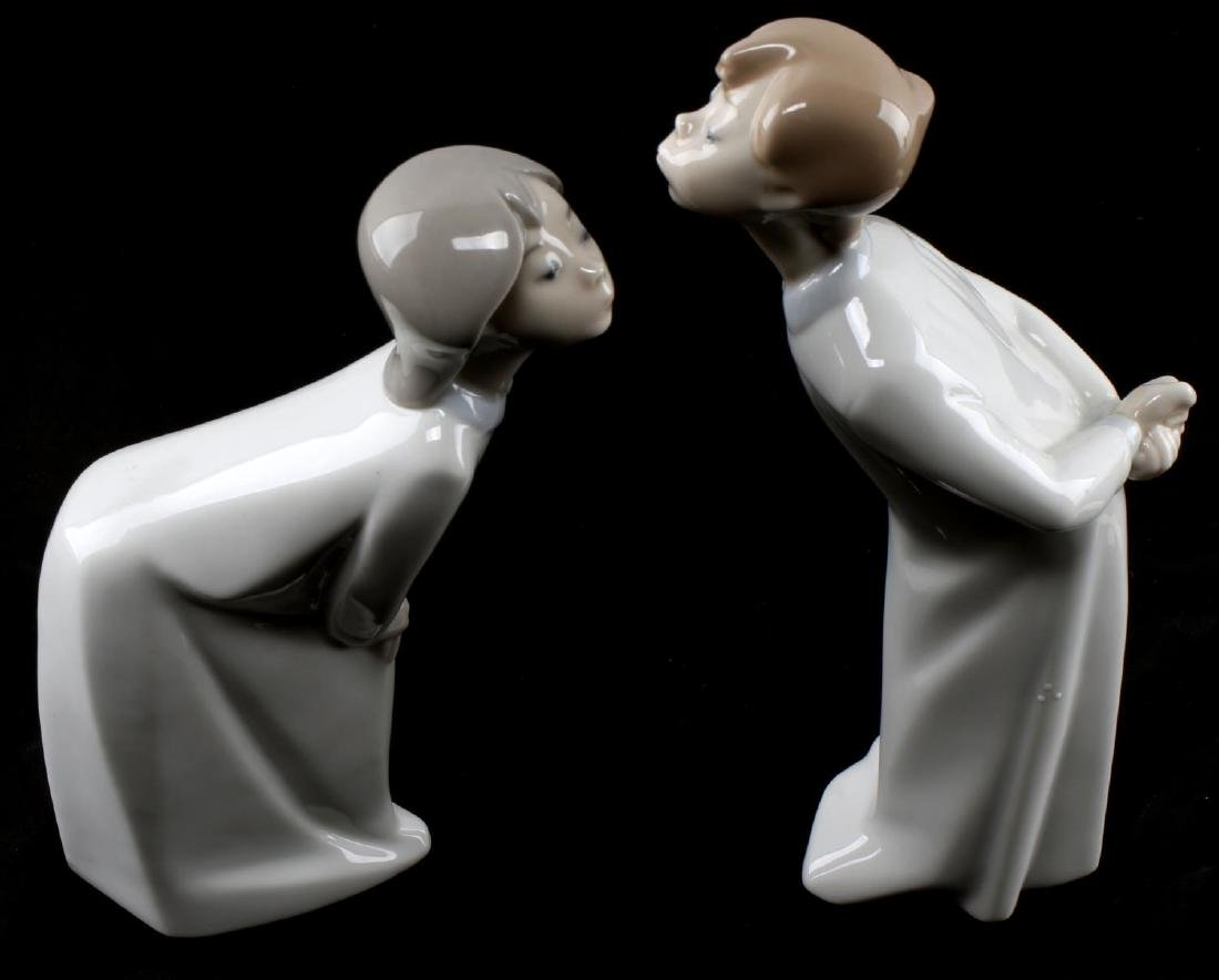 LLADRO ONE KISS BOY & GIRL PORCELAIN FIGURINES