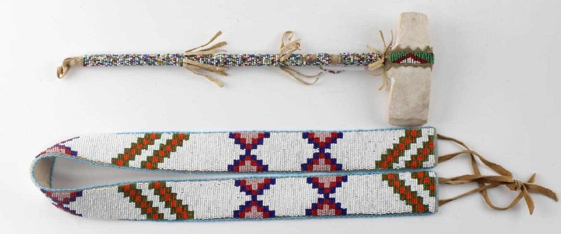NATIVE AMERICAN BEADED STONE TOMAHAWK AND BELT