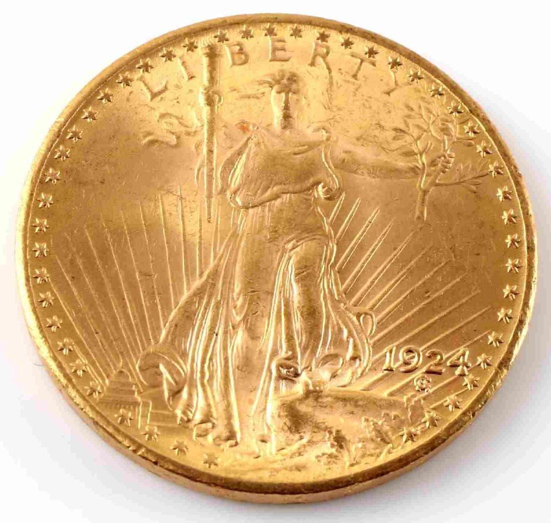 GOLD ST GAUDENS $20 DOUBLE EAGLE 1924 COIN UNC
