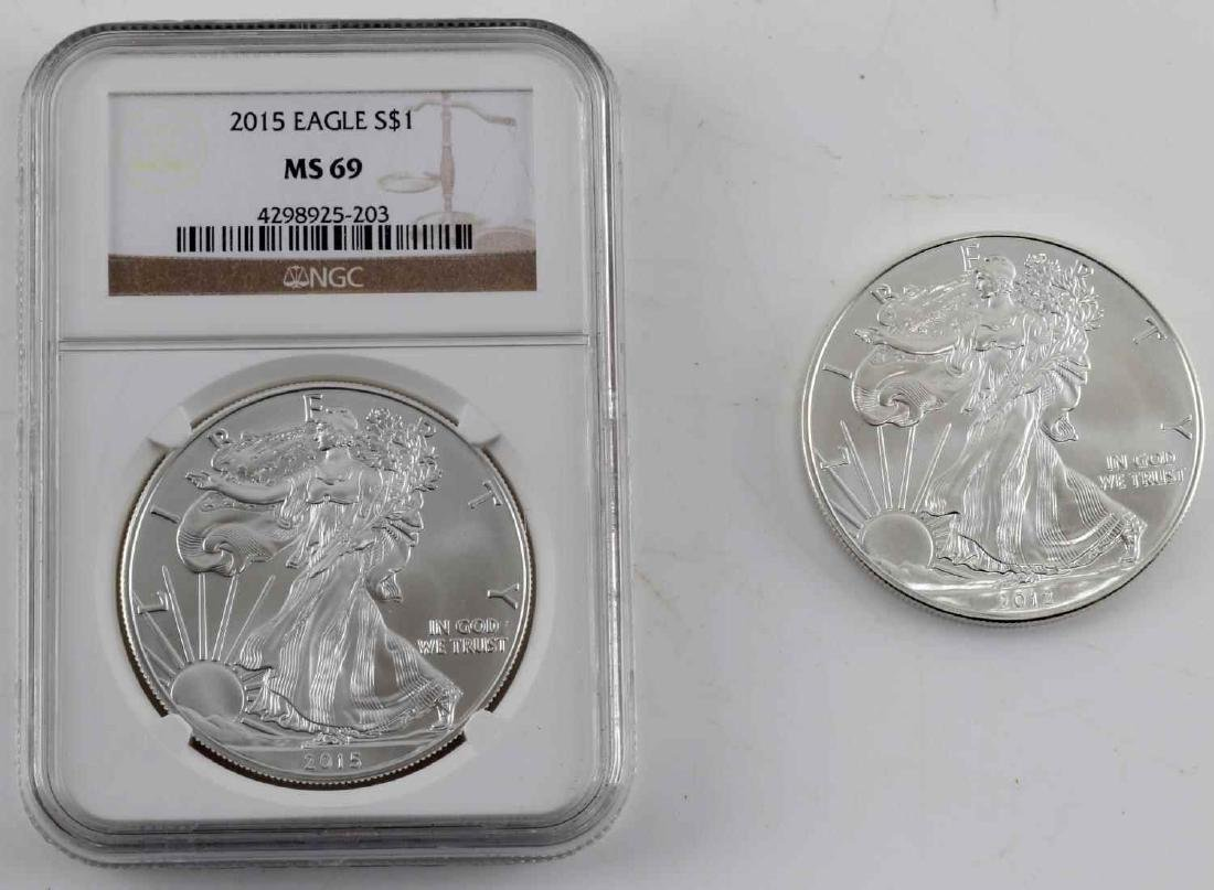 2015 NGC MS69 AND 2012 RAW SILVER AMERICAN EAGLES