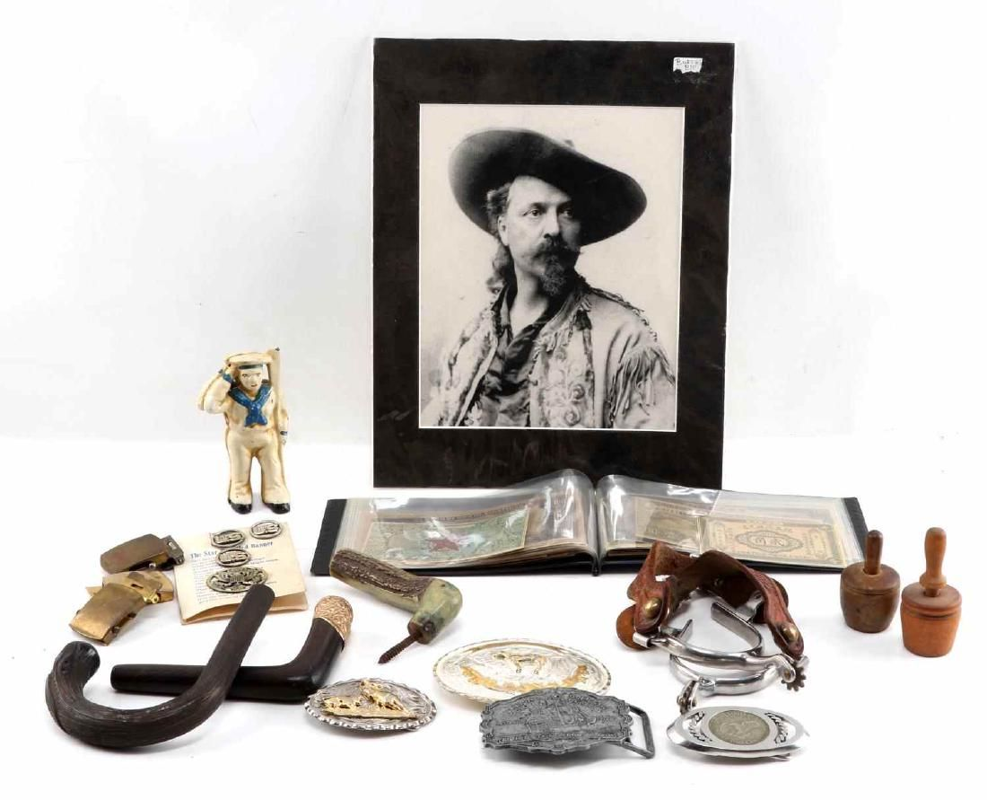 SMALL LOT OF COLLECTIBLES BUCKLES STIRRUPS BILL