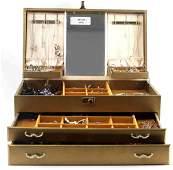 LARGE AMOUNT COSTUME JEWELRY IN GOLD JEWELRY BOX