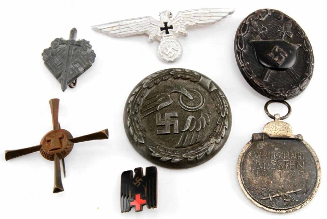 WWII GERMAN THIRD REICH BADGE AND PIN LOT OF 6