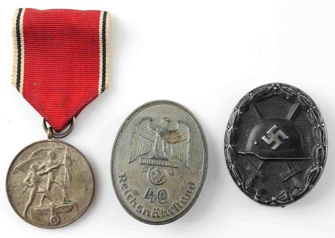 WWII GERMAN THIRD REICH BADGE & MEDAL LOT OF 3