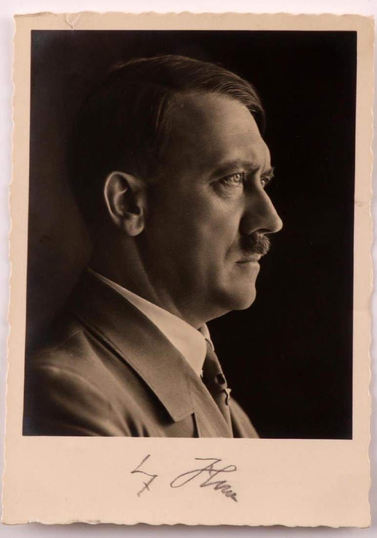 WWII ADOLF HITLER SIGNED POSTCARD HOFFMANN PHOTO