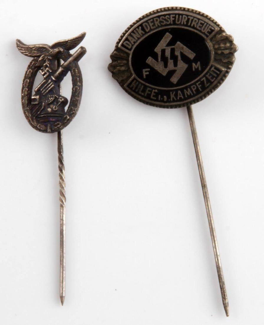 WWII GERMAN THIRD REICH STICKPIN BADGE LOT OF TWO