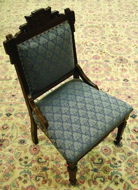 ANTIQUE EASTLAKE PADDED BLUE CHAIR