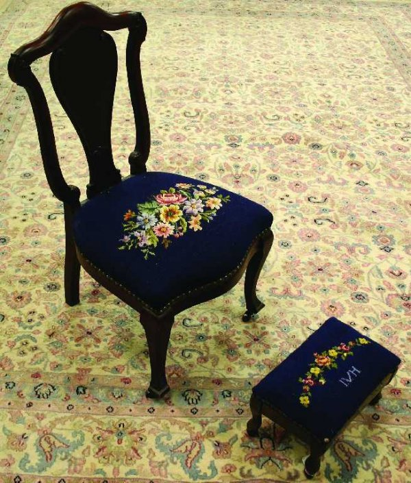 ANTIQUE FLORAL NEEDLEPOINT CHAIR AND FOOT STOOL