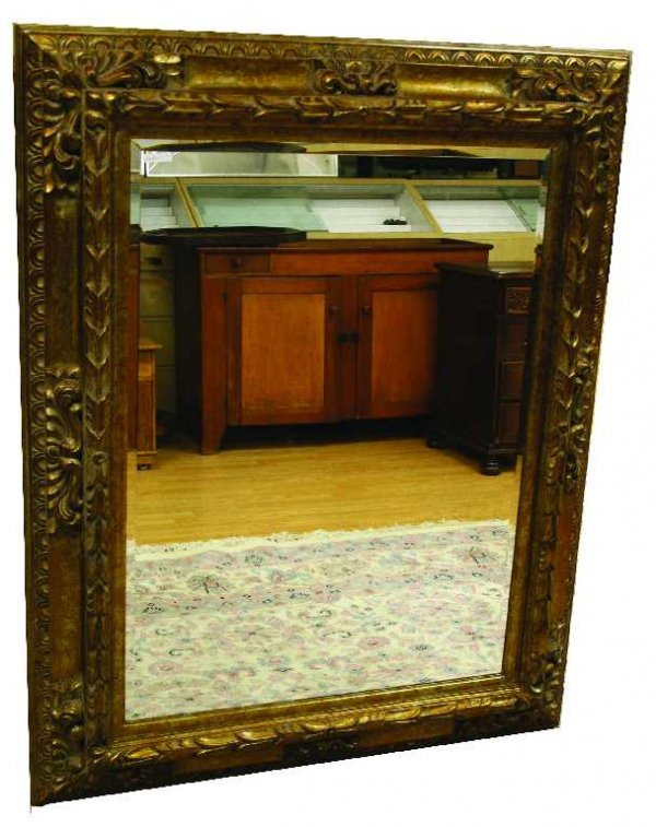 ORNATE BEVELED HANGING WALL MIRROR W/ GILDED FRAME