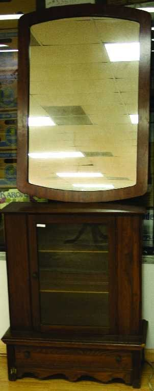 OAK GLASS FRONT CABINET WITH HANGING WALL MIRROR