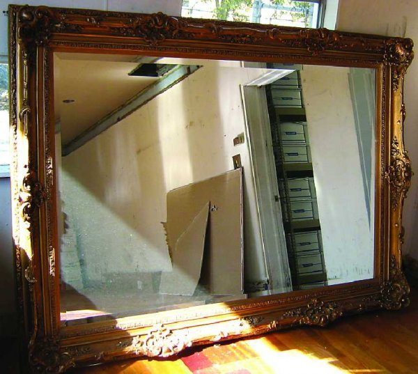 ORNATE BEVELED GLASS DECORATIVE WALL MIRROR 7'