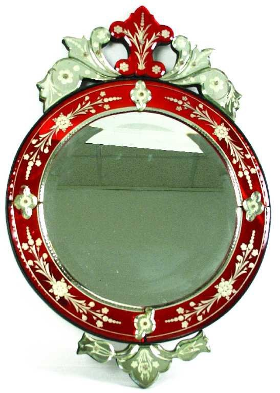 ANTIQUE ART DECO MIRROR RED BORDER CLASSIC